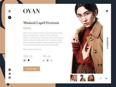 OVAN - Product Details Page website layout landing flat ship minimal ux ui grid concept e-commerce fashion