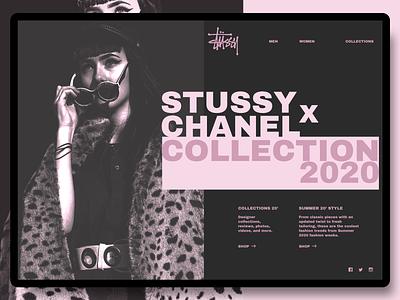 Fashion Website : Stussy x Chanel fashion clean design website flat rebound minimal web concept typogaphy ux ui
