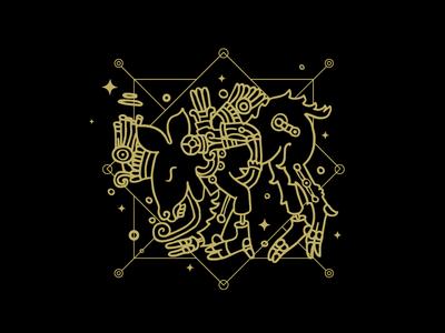Album cover  el nahual dog animal line music techno mexico nahual illustration ilustration vector