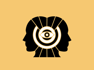 minds knowledge mistic people circle headline energy face mind eye head design vector