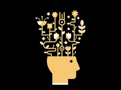 Ideas knowledge face future pots vector ilustration planta flowers ideas head flat