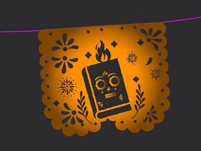 dia de muertos diademuertos tradicion mexico calavera skull magic fire paper dayofthedead notebook ilustration design vector papaelpicado