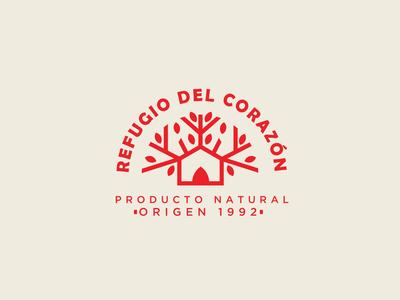 Refugio label home house tree identity isotype design brand logodesign typography logo branding vector