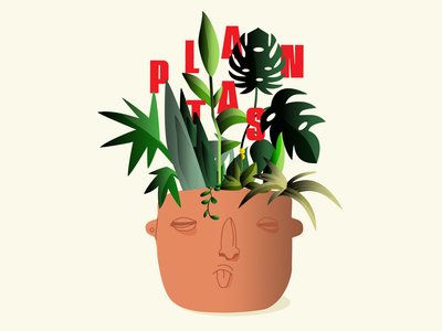 Plantas brown maceta barro ilustrator ilustracion tree face design green pots plants vector illustration
