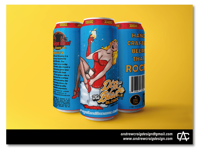 Dizzy Up The Blonde Beer Label Illustration & Layout beer can labels typography logo design brand art branding design illustration graphic design