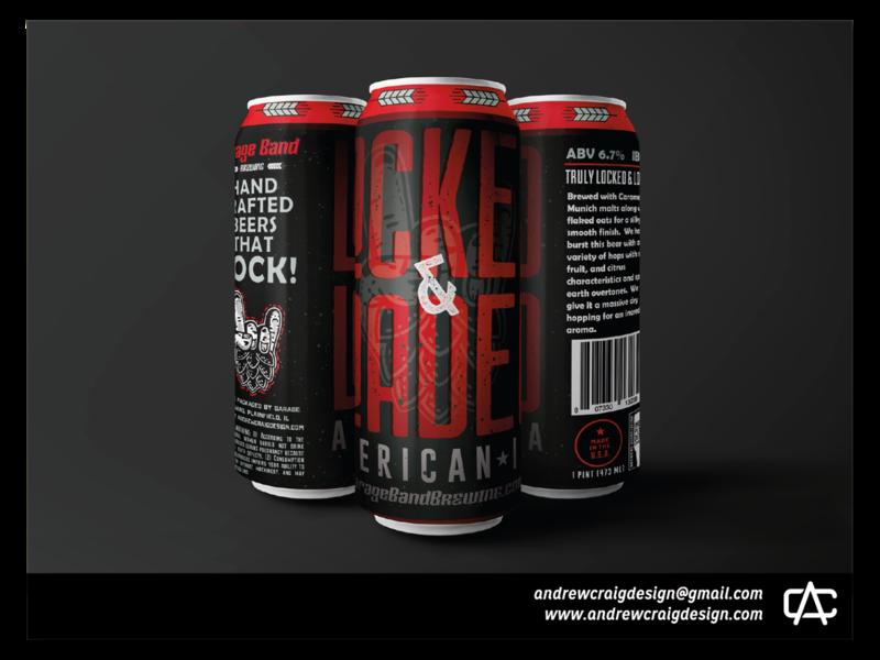 Locked & Loaded Beer Label Illustration & Layout label layout beer can monochromatic logo illustration art design branding vector graphic design