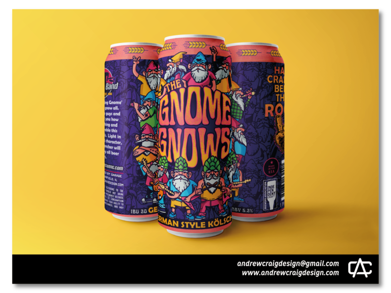 The Gnome Gnows Beer Label Illustration & Layout label beer can beer label typography graphic design art design illustration branding vector