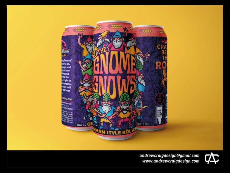 The Gnome Gnows Beer Label Illustration & Layout label beer can beer label typography graphic design art design illustration branding vector