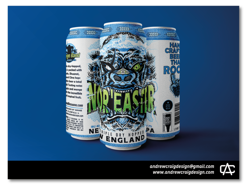 Nor'Easter Beer Label Illustration & Layout layout vector brand beer can handlettering typography graphic design art design branding illustration