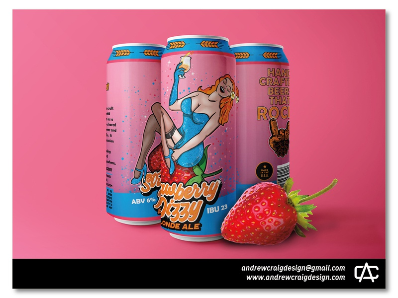 Strawberry Dizzy Beer Label Illustration & Layout layout typography beer branding beer can art logo design design vector illustration graphic design