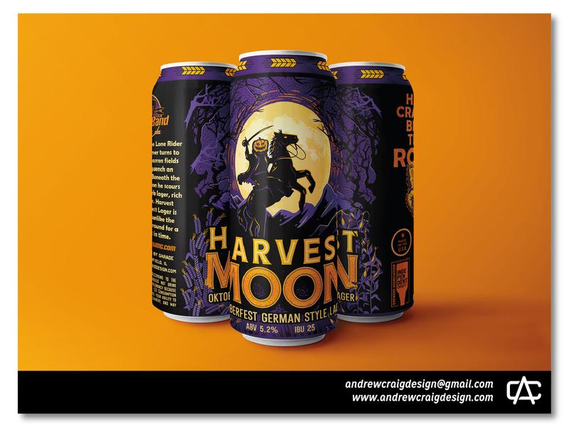 Harvest Moon Beer Label Illustration & Layout beer can vector typography beer branding beer label art illustration graphic design