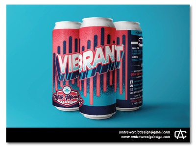 Vibrant Hazy IPA vector graphic design typography beer can design logo branding illustration