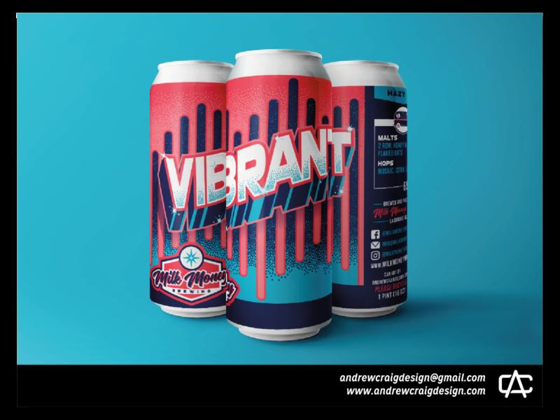 Vibrant Hazy IPA vector graphic design typography beer can design logo branding illustration