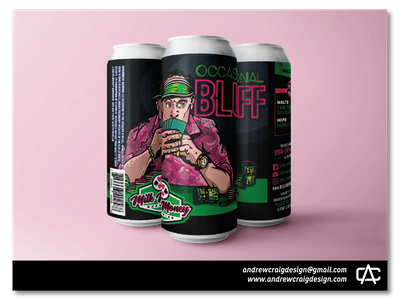 Occasional Bluff Hazy IPA branding art beer can vector graphic design illustration