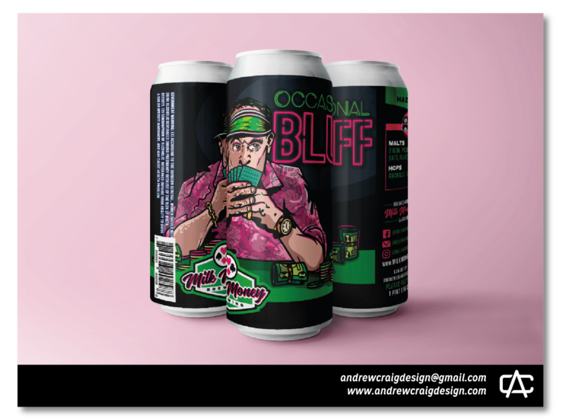 Occasional Bluff Hazy IPA branding art beer can vector graphic design illustration