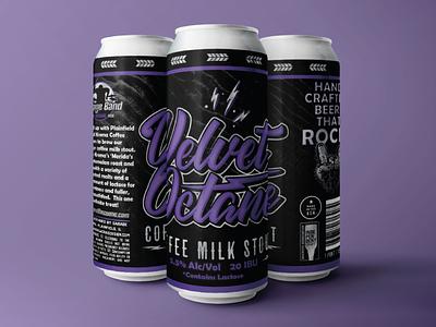 Velvet Octane Typography and Beer Label Layout brand beer can branding vector logo design illustration typography graphic design