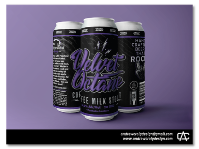 Velvet Octane Typography and Beer Label Layout brand beer can branding vector logo design illustration typography graphic design