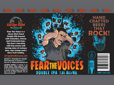 Fear The Voices Display layout logo design brand beer can art design branding vector illustration graphic design
