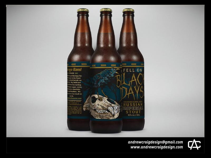 Fell On Black Days Illustration and Beer Label Design logo design brand design art typography beer bottle logo design concept design vector branding illustration graphic design