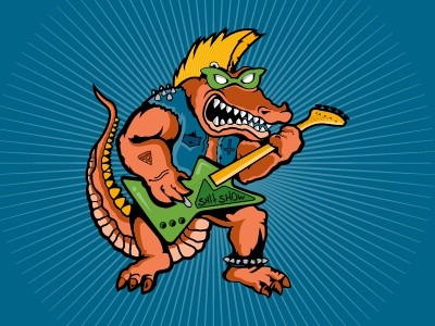 Gator Punx design color music punk pen tool gator vector illustration