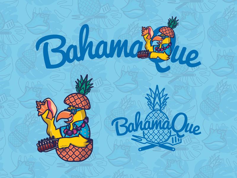 BahamaQue Barbeque icon brand art logo design design branding vector illustration graphic design logo restaurant branding