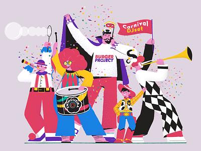 Carnival Characters toystory arlekin characterdesign vector carnival masquerade lucifer clown characters 2d animation illustration