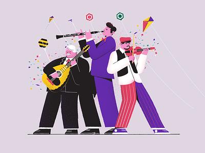 Greek Folk Musicians folk lute musicians clarinet music kites character animation illustration