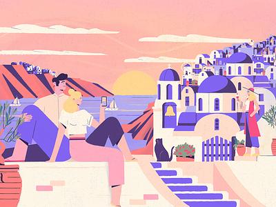 Santorini - Culture trip sea couple island sunset vectorart summer greece santorini character illustration