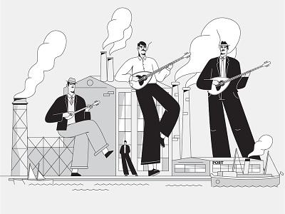 Rebetiko 01 underground port rebetiko music character animation motion design illustration