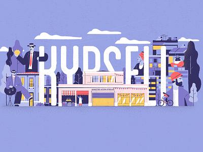 Kypseli Athens flats vector market city urban greece athens character illustration