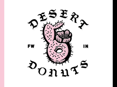 Desert Donuts Logo dessert pink blackletter cactus desert donut