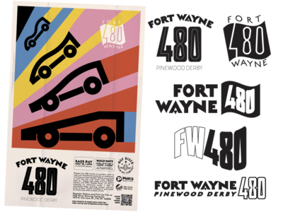 Fort Wayne 480 Pinewood Derby vector brewery gigposter thick lines fort wayne typography racing