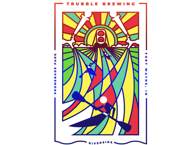 Trubble Brewing Summer Poster illustration vector summer kayak gigposter brewery can tap color beer brew