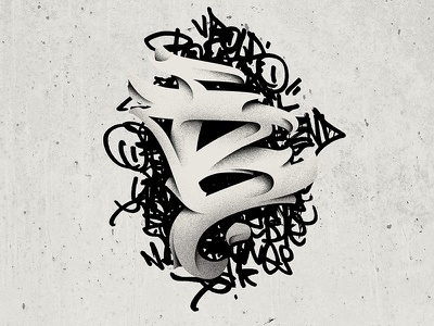 Letter B 36daysoftype shade ink calligraphy lettering