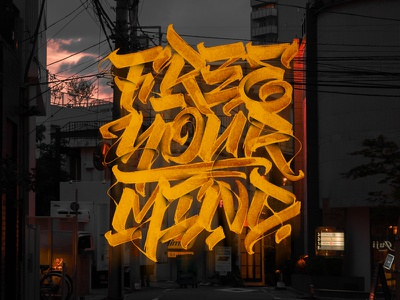 Free Your Mind composition typography street glow shade calligraphy lettering