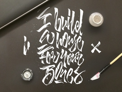 I build a house, For your bones dead weather quote cola-pen ink white dots calligraphy raw lettering