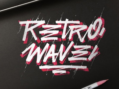 Retro wave retro style ink white raw calligraphy lettering