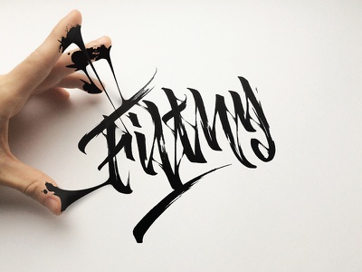 Filthy black drops dirt filthy reality hand integrate calligraphy lettering