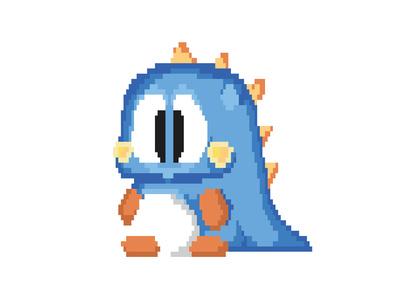 Bubble Bobble vector arcade dinosaur 8bit pixels illustration