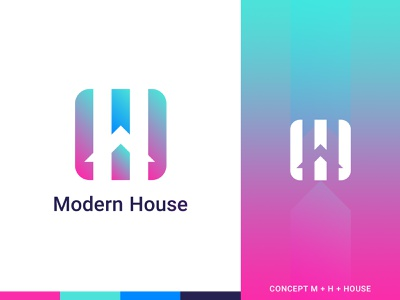 Modern House Logo app real estate gradient minimal minimalist modern logo designer creative mark company clean logotype art identity icon branding vector illustration logo design