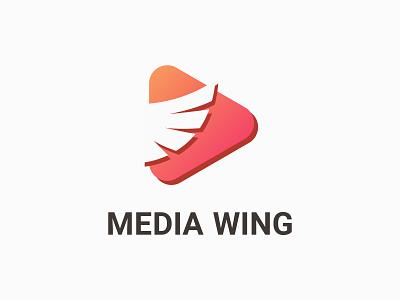 Media Wing Logo minimalist modern wing media logo inspiration logo designer logo maker company creative clean logotype mark art identity icon branding vector illustration design logo