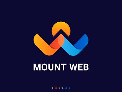 Mount Web Logo app logo colorful minimalist modern logo maker website web company creative clean logotype mark art icon identity branding vector illustration design logo
