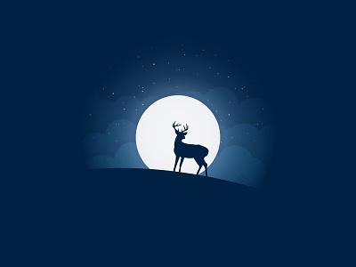 Night trend art illustration mountain star proart cloud deer nature night moon