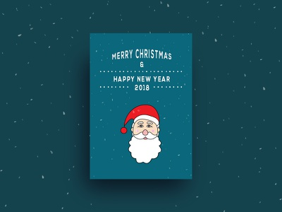 Merry Christmas and Happy New Year card greeting snow poster vector design illustration year new 2018 santa christmas
