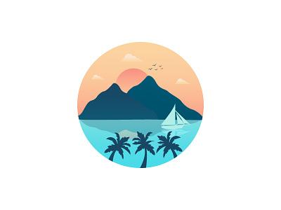 Scenery Illustration logo nature vector icon design landscape sea cloud boat mountain scenery illustration