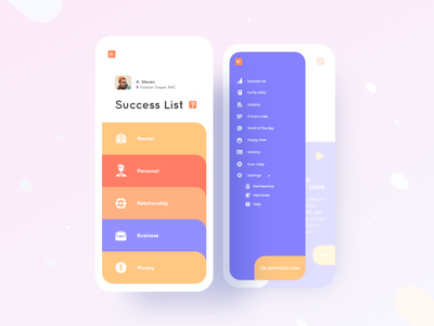 Achtung App Success List UI UX Design design ui ux uiux typography productdesign portfolio player play identity dribbblebestshot diary dailyui color clean cards habits appmenu appdesign