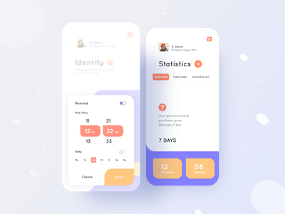 Achtung App Statistics Screen UI UX Design ux ui uiux typography productdesign portfolio player play identity dribbblebestshot diary dailyui color clean cards habits appmenu appdesign