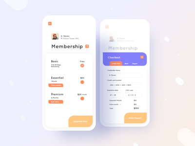 Achtung App Membership Screen UI UX Design ux ui membership card uiux typography productdesign portfolio player play identity dribbblebestshot diary dailyui color clean cards habits appmenu appdesign