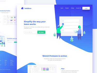 Taskdone Project management web user interface design concept lettering type flat web vector ux icon typography ui design illustration