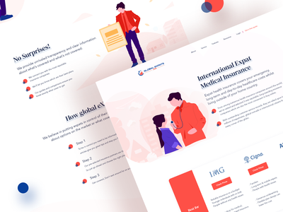 GlobalExpats Insurance Web UI Design-2 insurance company vector clean icon typography illustraion 2019 landing color illustration web interface ux design ui